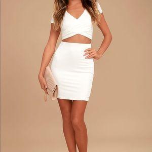 a253e77dca Lulu's Skirts   Lulus White Skirt Shirt Outfit Twopiece Dress   Poshmark